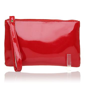 CHEEKY Red Patent PU Leather Clutch Bag/Purse With Wrist Strap