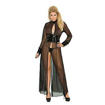 Plus Size Mesh and Vinyl Long Sleeve Gown Lingerie