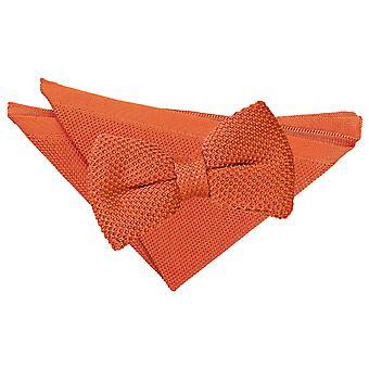 Orange brûlé tricoté le noeud de cravate et mouchoir de poche Set