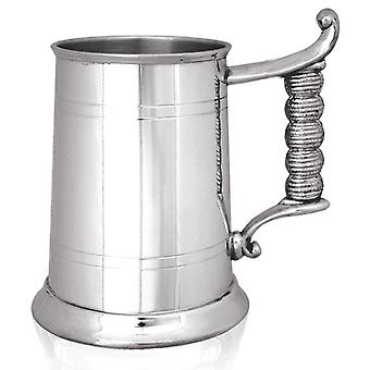 Straight 2 Line Rope Handle Pewter Tankard - 1 Pint
