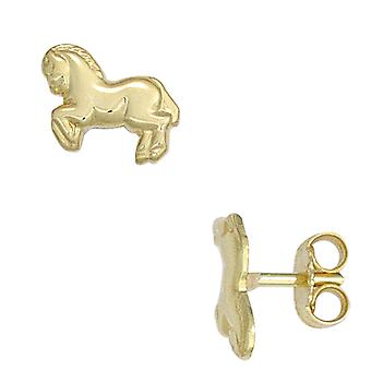 Children earrings horse 333 gold yellow gold earrings for girl children's jewellery