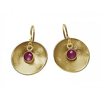 Ladies earrings 925 Silver gold plated shell Ruby Red 2 cm