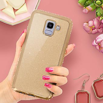 Glitter glam case, protective cover for Samsung Galaxy J6 - Gold