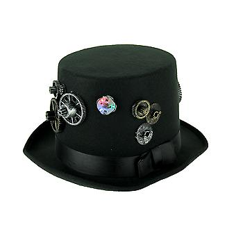 Formal Black Steampunk Style Top Hat With Flashing LED Lights