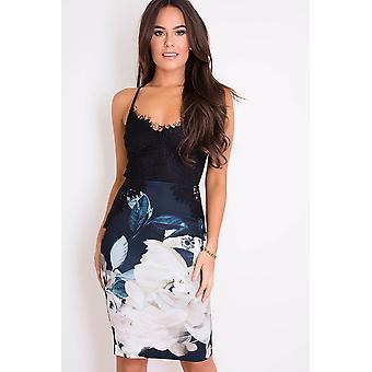 Contrast Lace Top jurk met bloemen rok