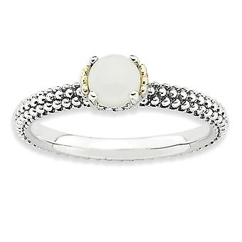 2.5mm 925 Sterling Silver Polished Prong set Antique finish and 14k Stackable Expressions White Agate Antiqued Ring - Ri