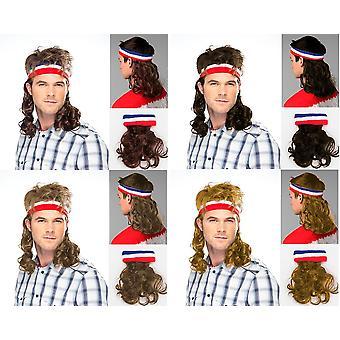 Vokuhila Kopfband mit Haaren Stirnband Perücke Hillbilly Headband