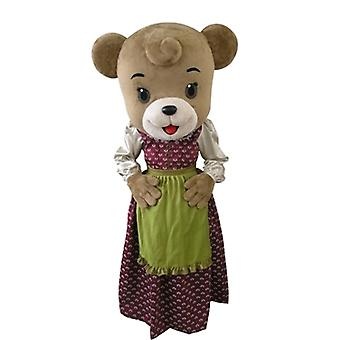 mascot SPOTSOUND of brown bear dressed in a dress with an apron