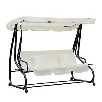 Outsunny 2-in-1 Patio Swing Chair 3 Seater Hammock Cushion Bed Tilt Canopy Garden Lounger Bench