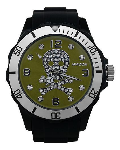 Waooh - Death Watch Rhinestones Black Head 39 Dial Colour Silver