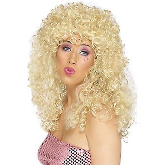 Long Blonde Frizzy Wig, Boogie Babe Wig, Fancy Dress Accessory