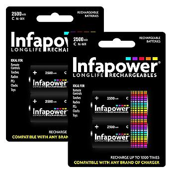 4 x Infapower B005 Rechargeable C Ni-MH Batteries 2500mAh
