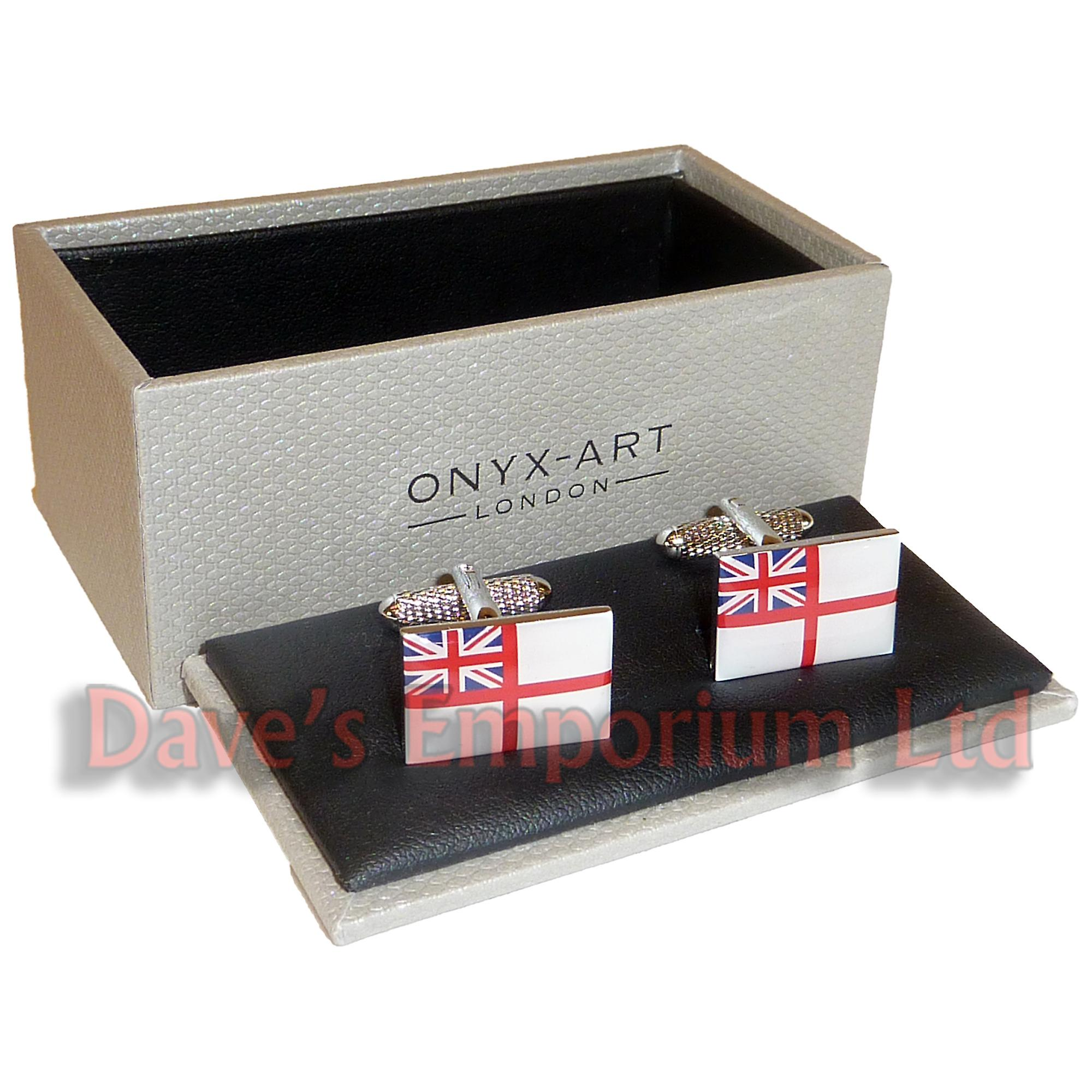 Royal Navy Ensign Cufflinks - Onyx Art - Gift Boxed - Union Jack Flag Cuff Links