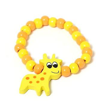 The Olivia Collection Childrens Wooden Beads Elasticated Giraffe Bracelet