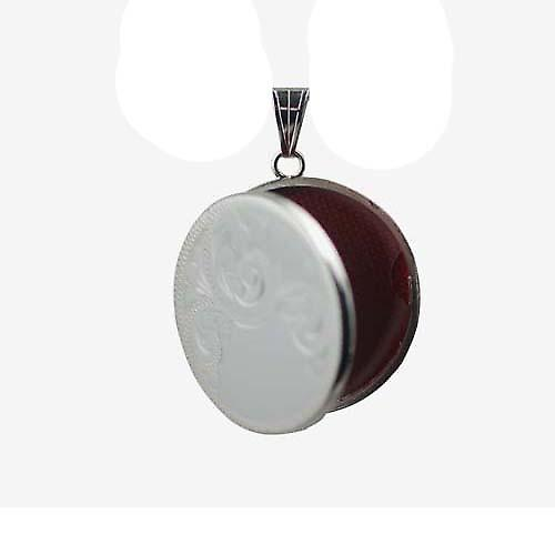 Silver 29mm half hand engraved flat round Locket