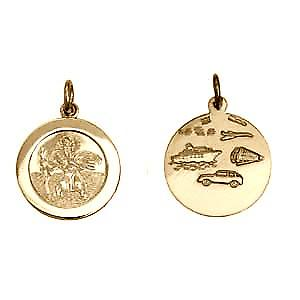 9ct Gold 21mm round St Christopher Pendant with car boat train plane on back