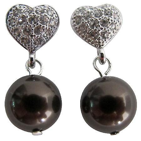 Valentine Gift Heart Post Earrings Deep Brown Pearl