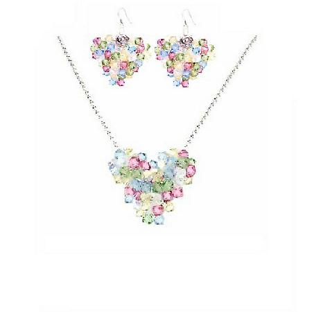 Multicolor Crystals Puffy Heart Pendant Necklace Earrings Gift Set