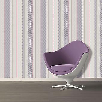 Amaya Stripe Wallpaper Geometric Modern Luxury Heather Plum Holden Decor