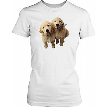 Two Golden Retriever Puppies Ladies T Shirt
