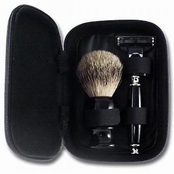 Executive Shaving Deluxe Mach3 Travel Shaving Set In Black