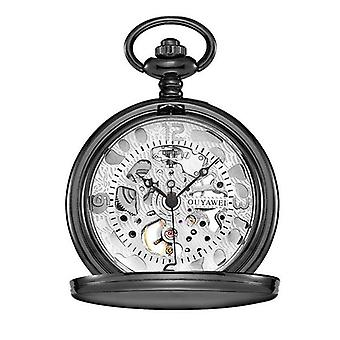 Black case silver face pocket watch fob and keep chain