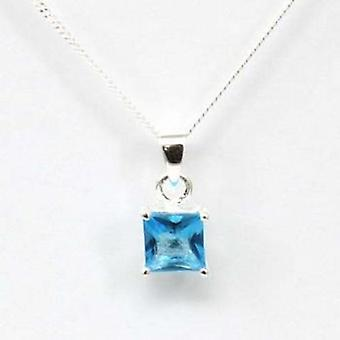 Toc Sterling Silver Blue Princess Cut Pendant on 18 Inch Chain
