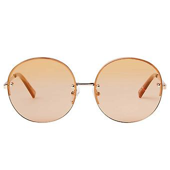 Le Specs Say My Name Rose Gold Round Sunglasses