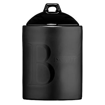 Premier Housewares Black Ceramic Text Biscuit Jar