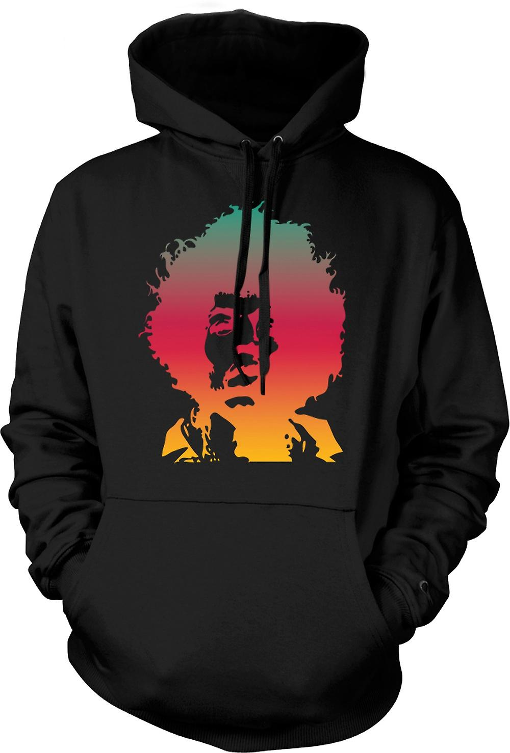 Para hombre con capucha - fresco retrato de Jimi Hendrix