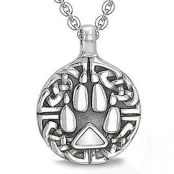 Amulet Celtic Shield Knot Wolf Paw Protection Magic Triangle White Cats Eye Pendant Necklace