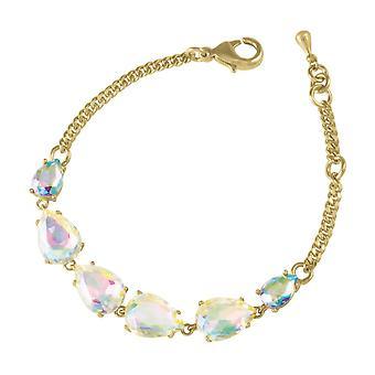 Eternal Collection Seduction Teardrop Aurora Borealis Crystal Gold Tone Fashion Bracelet
