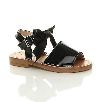 Ajvani Girls infant buckle ribbon bow menorcan summer sandal shoes