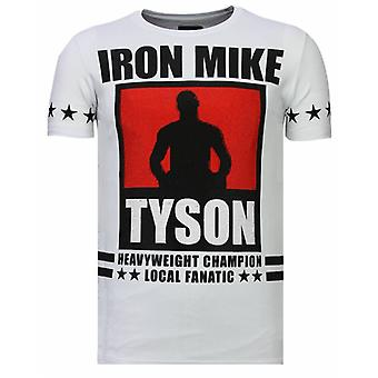Iron Mike Tyson-Rhinestone T-shirt-White