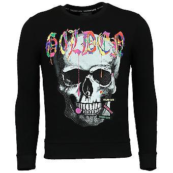 Trui Heren - Doodskop Sweater Mannen - Golden Skull - Zwart