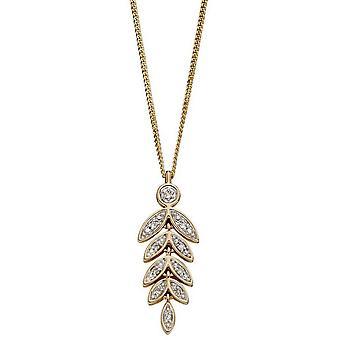 Elements Gold Graduating Leaf Pendant - Gold/Silver
