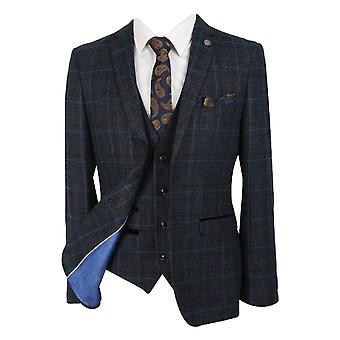 Paul Andrew Men's & Boys Check Tweed Retro Suit in Navy Blue