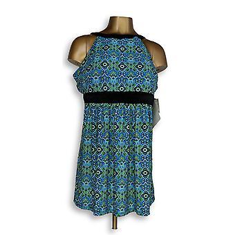 Fit 4 U Plus Swimsuit Hi Neck Dresskini Blue / Black A304230
