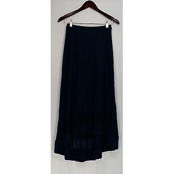 H by Halston Skirt Hi-Low Rayon Blend Knit Navy Blue A277943
