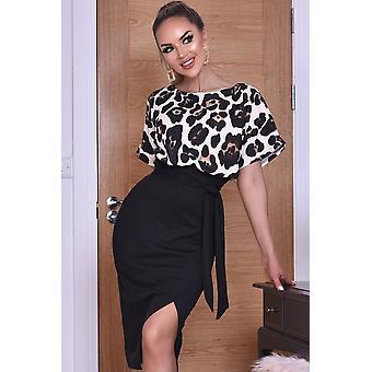 Leopard Batwing topp klänning