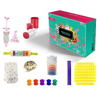 Cookiepro Festive Edition - 231pcs Cookie Biscuit Cutter And Stamp Set With 6pcs Xmas Shape Round Stampers + 1 Decorating Icing Pen + 1 Rolling Pin With 9 Cookie Shapes + Alphabet And Numbers Cookie Stamps / Embosers + Icing Piping Syringe With 8 Different Nozzles + 100 Cellophane Cookie Bags + 100 Golden Bag Fastener Clips + Free Designs Idea Booklet