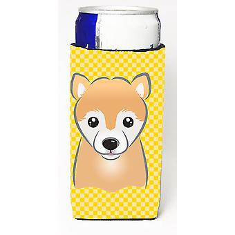 Yellow Checkered Shiba Inu Ultra Beverage Insulators for slim cans BB1133MUK