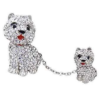 Butler und Wilson Westie mit Hund auf einer Kette Brosche