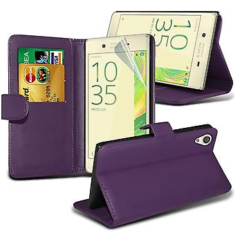 i-Tronixs Sony Xperia E5 Case PU Leather Wallet Classic Flip Cover + Screen Protector Guard -Purple