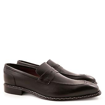 Penny loafers for men handmade in black lux leather