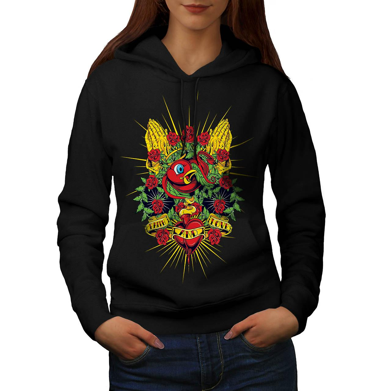 Faith Love Rose Valentine Women Black Hoodie | Wellcoda
