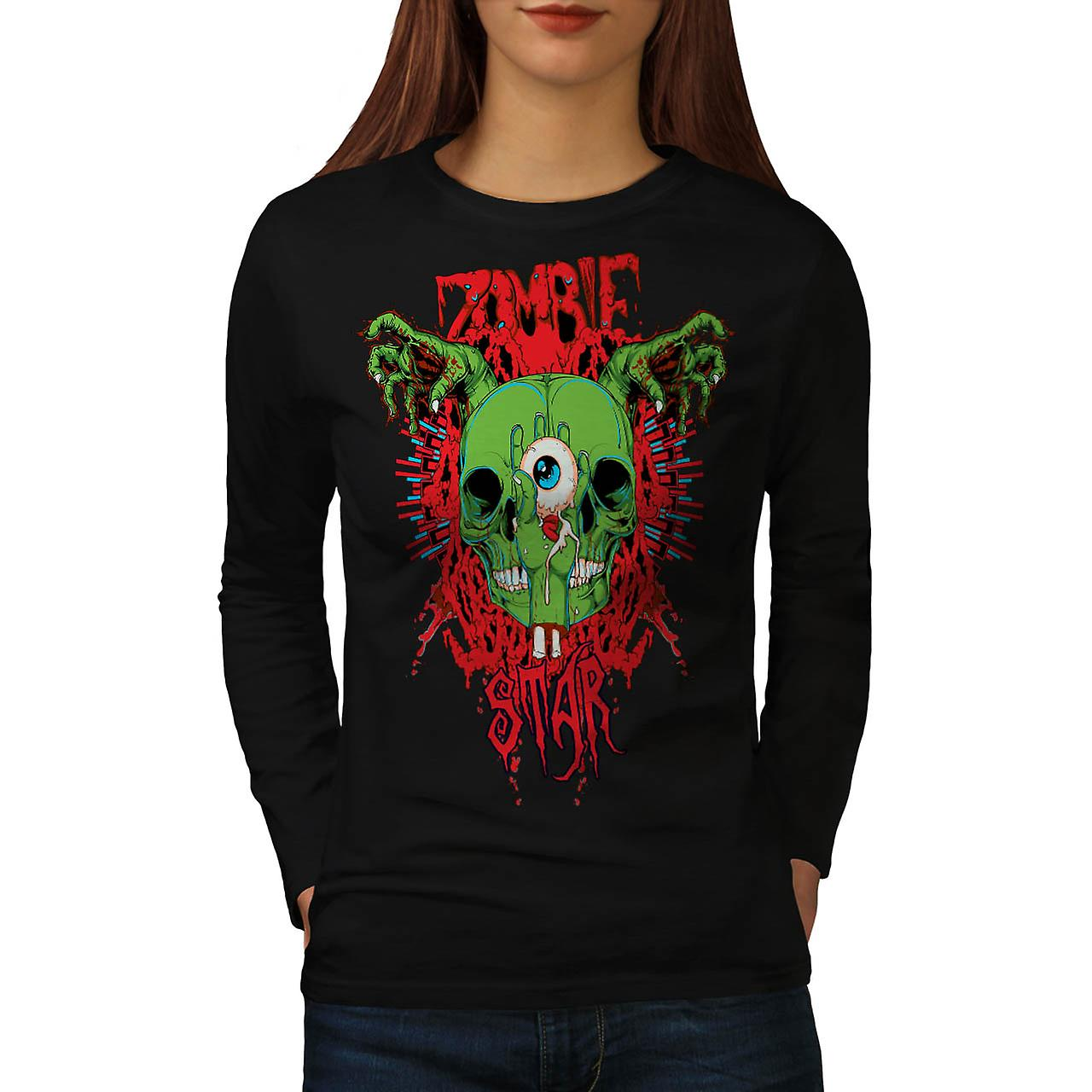 Monster Zombie Evil Star Night Women Black Long Sleeve T-shirt | Wellcoda
