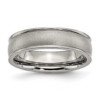Titan gebürstet Schlossdrücker poliert und satin Ridged Rand 6mm Satin poliert-Band-Ring - Ring-Größe: 5 bis 14