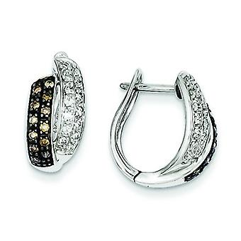 Sterling Silver Champagne Diamond Leverback Hoop Earrings - .50 dwt