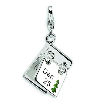 Sterling Silver 3-D Enameled Dec. 25 and Dec. 26 With Lobster Clasp Charm - Measures 31x17mm